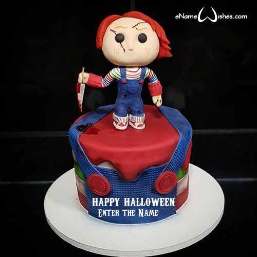 Excellent Chucky Cake With Name Enamewishes Funny Birthday Cards Online Sheoxdamsfinfo