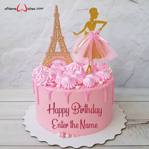 Admirable Birthday Eiffel Tower Cake With Name Enamewishes Personalised Birthday Cards Beptaeletsinfo