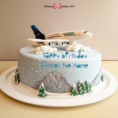 Marvelous Aeroplane Birthday Cake With Name Enamewishes Funny Birthday Cards Online Alyptdamsfinfo