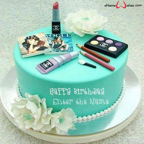 Peachy Makeup Birthday Cake With Name Generator Enamewishes Personalised Birthday Cards Veneteletsinfo