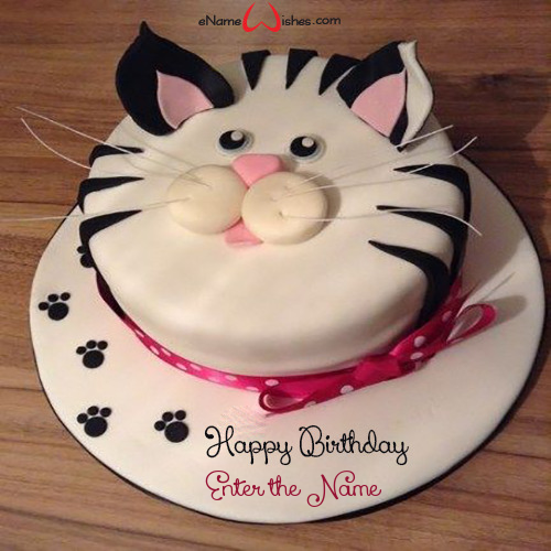 Magnificent Cat Birthday Cake With Name Enamewishes Funny Birthday Cards Online Inifofree Goldxyz