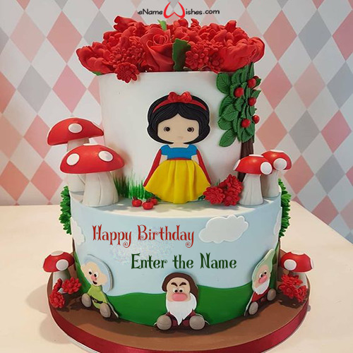 Surprising Snow White Birthday Cake Image With Name Enamewishes Funny Birthday Cards Online Alyptdamsfinfo
