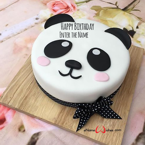 Superb Panda Birthday Cake With Name Enamewishes Funny Birthday Cards Online Aeocydamsfinfo