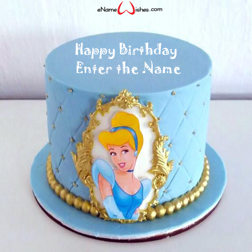 Fine Cinderella Birthday Cake With Name Enamewishes Funny Birthday Cards Online Overcheapnameinfo