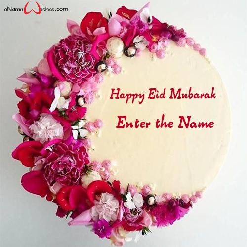 Happy Eid Mubarak Cake Name Edit Enamewishes
