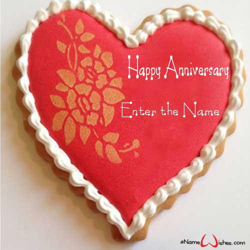 Amazing Wedding Anniversary Wish Cake With Name Enamewishes