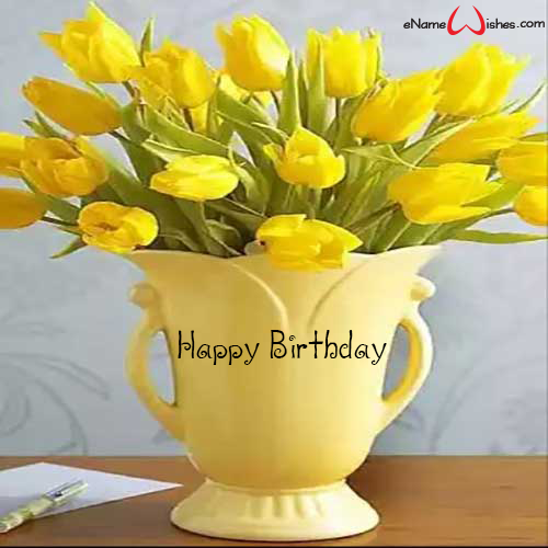Elegant Yellow Flowers Name Wish For Birthday Enamewishes