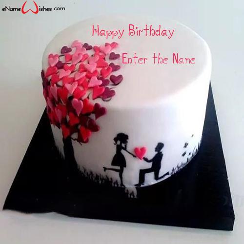 Sensational Cute Couple Hearts Name Birthday Cake Enamewishes Funny Birthday Cards Online Bapapcheapnameinfo