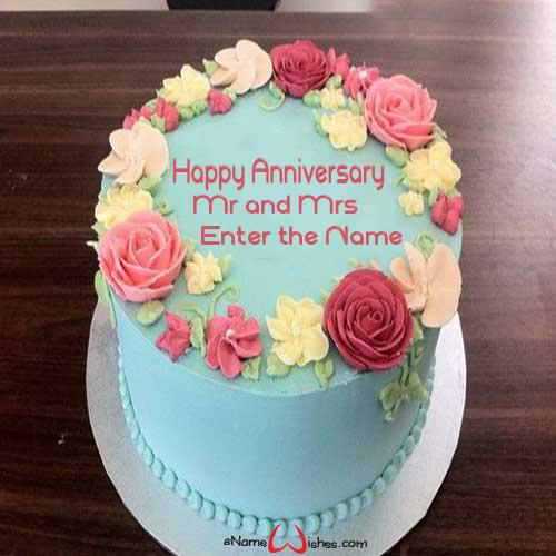 Beautiful Flowers Anniversary Wish Cake