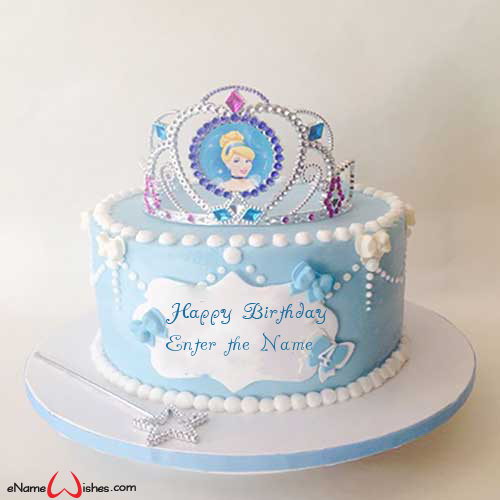 Swell Cute Cinderella Birthday Wish Cake For Girl Enamewishes Funny Birthday Cards Online Overcheapnameinfo