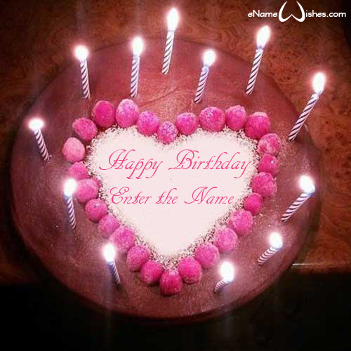 Cute Candles Birthday Wish Name Cake