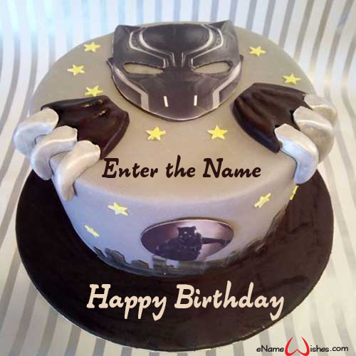 Amazing Black Panther Name Birthday Cake Enamewishes Birthday Cards Printable Nowaargucafe Filternl