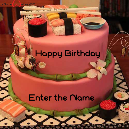 Magnificent Best Sushi Birthday Name Cake Enamewishes Personalised Birthday Cards Veneteletsinfo
