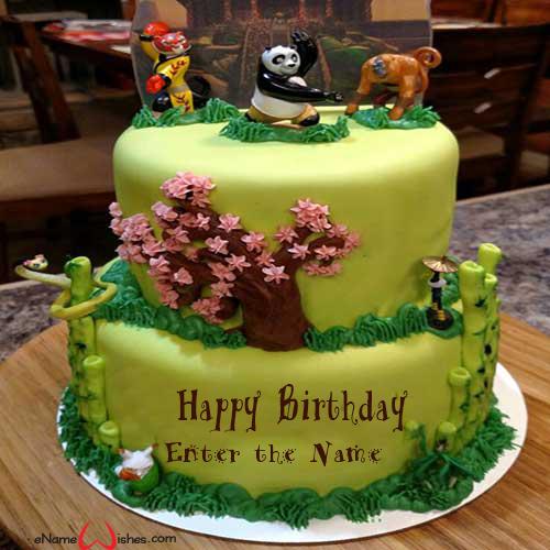 Swell Kung Fu Panda Birthday Name Cake Enamewishes Funny Birthday Cards Online Alyptdamsfinfo